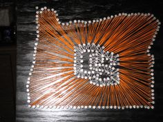 OS Oregon (I'm going to make this but with the new OSU block letters) Oregon State University, State Of Oregon, String Art, Wood Crafts, Craft Ideas, Fun Ideas, Arts And Crafts, Hand Painted, Crafty