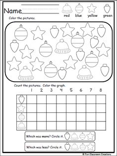 Christmas Graphing Activity Students color the Christmas objects then complete the graph. Using the completed graph, decide which objects appear more and which appear less. This worksheet helps wit… Measurement Activities, Graphing Activities, Pre K Activities, Preschool Learning Activities, Kindergarten Lessons, Kindergarten Classroom, Classroom Ideas, Christmas Worksheets, Christmas Math