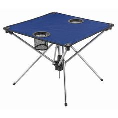 Table Portable Fold-Up Blue with Cup holder Camping Beach Picnic Outdoor Party #RoseArt