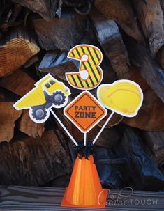 Construction Centerpieces Construction Tools by CreativeTouchhh Second Birthday Ideas, Third Birthday, Boy Birthday, Birthday Banners, Birthday Invitations, Birthday Numbers, Construction Birthday Parties, 4th Birthday Parties, Construction Party Decorations
