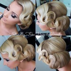 45 Glamorous Wedding updos for long and medium hair - Vintage, old Hollywood, retro waves and wrapped bun Bridal Hair Updo, Wedding Hair And Makeup, Wedding Updo, Hair Makeup, Bridal Gown, Vintage Bridal Hair, Vintage Updo, Retro Updo, Vintage Glamour