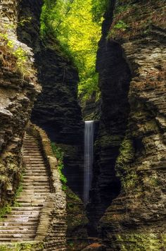 A 60 ft waterfall at Watkins Glen State Park, Ny.