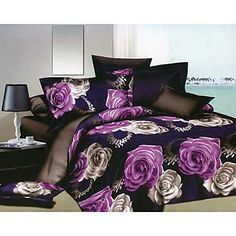 Charming Purple and White Roses Print Polyester Duvet Cover Sets Purple Bedrooms, Purple Bedding, 3d Bedding Sets, Buying Wholesale, White Roses, Duvet Cover Sets, 3 D, 3d Printing, Floral Prints