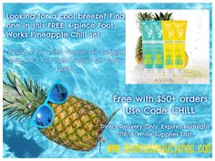 Use #Avon #couponcode CHILL and get a 4-piece Foot Works set free with your order of $50 or more at www.deannasbeautyshop.com. Get 2 pumice scrubbing lotions and 2 cooling lotions. Expires midnight 7/18/16. While supplies last. #pedi #feet