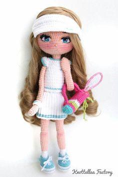 Knottellaa doll - tennis, anyone? Knitted Dolls, Crochet Dolls, Knit Crochet, Pretty Dolls, Amigurumi Toys, Craft Tutorials, Little Pony, Doll Toys, Doll Clothes