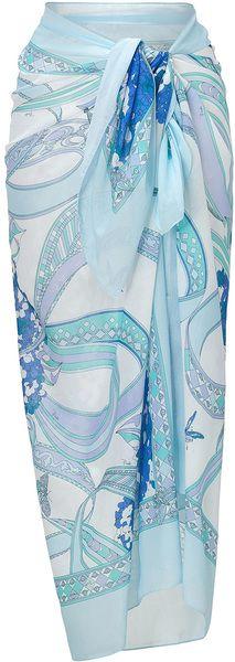 418d800a90353 Emilio Pucci Blueaqua Long Cotton Sarong - Lyst Sarong Skirt, Dress Skirt,  Sarong Wrap