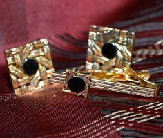 Vintage Swank Diamond Cut Black & Gold Cuff Links and Tie Pin Tack Set $30.00