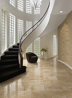 Home Interior Living Room Decorating Ideas For Small Rooms Foyer Ideas Round Coffee Table Ottoman Cube Bookshelf Living Room Foyer Ideas Paint Color Small Apartment Luxury Staircase, Staircase Handrail, Stair Railing Design, Home Stairs Design, Curved Staircase, House Design, Floating Staircase, Staircases, Dream House Interior