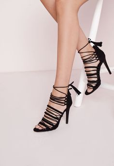 Missguided - Ultra Strappy Lace Up Gladiator Sandals Black