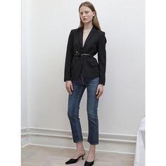 Emma S in Imola Blazer and Straight Denim http://www.toteme-nyc.com/shop/ss16/imola-blazer?color=black