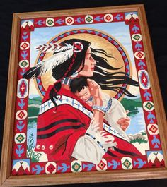 Vintage Indian Squaw With Baby Paint By Number Painting Large 17.5 X 21.5