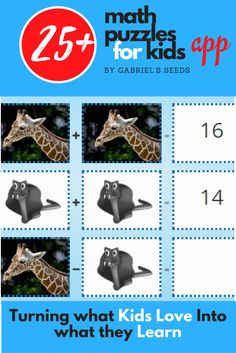 Personalized math puzzles with animals created with Gabriel's Seeds app generator