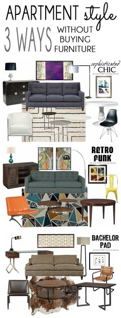 Can you believe that you can rent everything in these mood board to decorate your apartment with SOPHISTICATED CHIC, RETRO FUNK, or BACHELOR PAD style? Decorating in a way that makes your home both stylish and functional can be more challenging for renters, but furniture rental offers lots of stylish and affordable options! #CORTatHome #sponsored