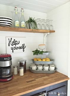 How to build a Beverage Bar- Coffee Station- Built from Closet space