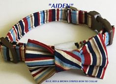 Blue, Brown, and Red Striped Bow Tie Collar for Male Dogs and Cats