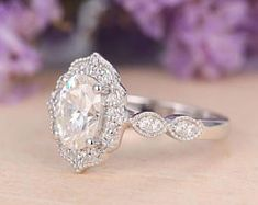 Moissanite engagement ring Vintage engagement ring White gold Antique Art deco Half Eternity Wedding Jewelry Anniversary Gift for Women
