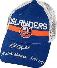 427cd846593 Kyle Okposo New York Islanders Autographed Cap with 1st NHL Hat Trick 11615  Inscription Fanatics Authentic