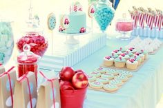 cute aqua and red party