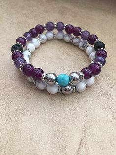 A personal favorite from my Etsy shop https://www.etsy.com/listing/534070564/purple-white-diffuser-bracelet-set