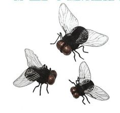 HALLOWEEN FLY SET Creepy Glittered BUGS Fun Decorations by Midwest. $17.99