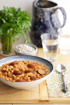 White Beans and Sausage in the Crock Pot