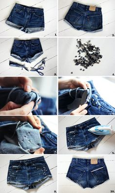 In love with this pin!! Change boring cuffed shorts to DIY cut offs...with your own gems!! :) Love