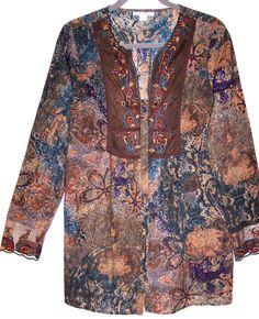 Coldwater Creek Top S Paisley Burnout Embroidered Boho Hippie Tunic Shirt Blouse #ColdwaterCreek #ButtonDownShirt #Casual