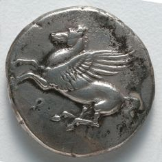 A Pegasus, Stater, BC Greece, Corinth, Century BC silver Ancient Greek Art, Ancient Aliens, Ancient Greece, Greek Artifacts, Ancient Artifacts, Cleveland Museum Of Art, Cleveland Ohio, Monuments, Coin Art