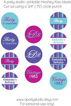free hershey kisses labels template - free printable 30th birthday party invitation templates