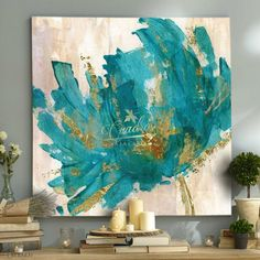 A bright addition to any room, the Contemporary Teal Flower Canvas Wall Art is a canvas print that makes every day feel like spring. Inviting, midcentury design with gorgeous colors make this piece dreamy and appealing. Teal Flowers, Abstract Flowers, Art Turquoise, Turquoise Painting, Teal Paint, Canvas Art Prints, Canvas Wall Art, Canvas Walls, Art Walls