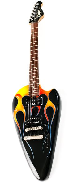 AMERICAN SHOWSTER Biker Guitar | The design and craftsmanship of this guitar was fashioned after the gas tank of early model choppers and shop customs.