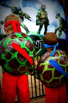 Teenage Mutant Ninja Turtle Party Ideas - made from newspaper and glue
