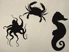 Nautilus Set Three Items Crab, Seahorse, Octopus silhouette Iron On Tote Bag Pillow Sheet Burlap Transfer  Graphic Digital Download No. S1