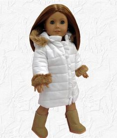 Doll Clothes Coat Fur Trim Hooded Puffy + Sherpa Boots fit 18 inch American Girl #ManufacturefitAmericanGirl #dollclothingfitsamericangirl