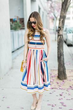 the prettiest striped dress for spring from kate spade's spring 2017 collection - April 17 2019 at Thanksgiving Outfit, Women's Summer Fashion, Summer Fashions, Looks Style, Spring Outfits, Outfit Summer, Designer Dresses, Fashion Dresses, Fashion Clothes