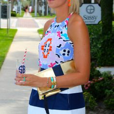 Love how Chandler, from Shotguns & Seashells, paired Annie Griffin's navy Olivia skirt and Sevilla print Mollie tank!