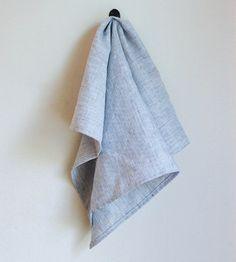 Linen Kitchen Tea Towel - Blue Pinstripe