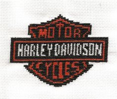This is a Father's Day gift to my father. (Duh) :: chuckles :: The stitch itself is from a graph I created, stitched on 18 count fabric, and the black and white thread is silk to give it a richer c. Cross Stitch Needles, Cross Stitch Kits, Counted Cross Stitch Patterns, Cross Stitch Embroidery, Steve Harley, Hd Logo, Harley Davidson Logo, Cross Stitch Letters, Christmas Ornaments To Make