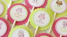 Cupcake Toppers owls girl pink and green by ALittleLollipopTree, $9.00