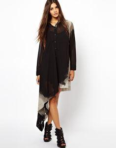 Religion Asymmetric Karova Sheer Shirt Dress