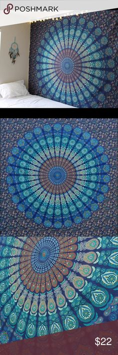 """Mandala Tapestry 84""""x54"""" Mandala Tapestry. Would be great hanging on a wall, used as a table cloth,  laid out on the sand at the beach, or a bed cover! No holes in the tapestry, was hung using command strips. No residue left! Made of cotton. Not Urban Outfitters Urban Outfitters Accessories"""