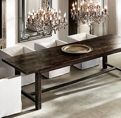 17th C. Spanish Monastery Rectangular Dining Table - Waxed Brown | Restoration Hardware