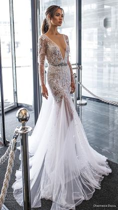 "dimitrius dalia 2018 royal long sleeves deep v neck heavily embellished bodice tulle skirt sexy trumpet wedding dress chapel train (3) mv -- Dimitrius Dalia ""Royal"" Wedding Dresses 