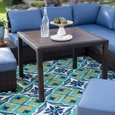 Outdoor Belham Living Luciana Bay Resin Wicker Square Dining Table - GLA-61138-3535T