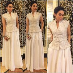 Latest party wear white dress collection 2017 2018 for women 21 Indian Gowns Dresses, Indian Fashion Dresses, Dress Indian Style, Indian Designer Outfits, Designer Dresses, Fashion Outfits, Fashion Weeks, Indian Party Wear, Indian Wedding Outfits