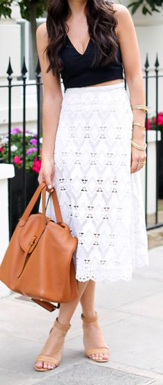 Nude sandals, Michael Kors handbag, white laser cut out a-line skirt, black tight crop top