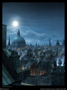 Title: London Rooftops, Matte Painting  Name: Raphael Lacoste  Country: Canada  Software: 3ds max, Photoshop