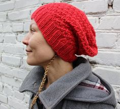 Red knit hat/Red knit beanie/Cool knit hat/Beanie knit
