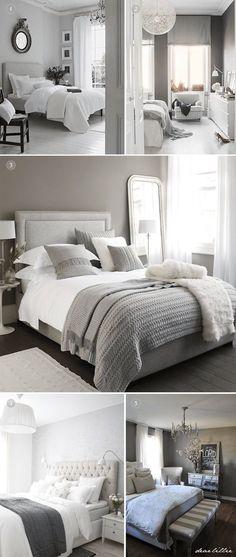 White And Grey Master Bedroom Interior Design Ideas - Home Decor Bedroom Color Schemes, Bedroom Colors, Colour Schemes, Home Bedroom, Bedroom Decor, Bedroom Furniture, Bedroom Ideas, Bedroom Inspo, Furniture Dolly