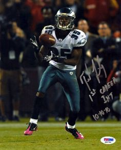 "Trevard Lindley Autographed 8x10 Photo Philadelphia Eagles ""1st Career INT 10-10-10"" PSA/DNA Stock"